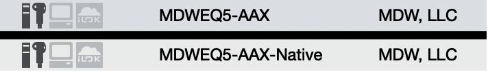 MDWEQ5-AAX and MDWEQ5-AAX-Native iLok License Text